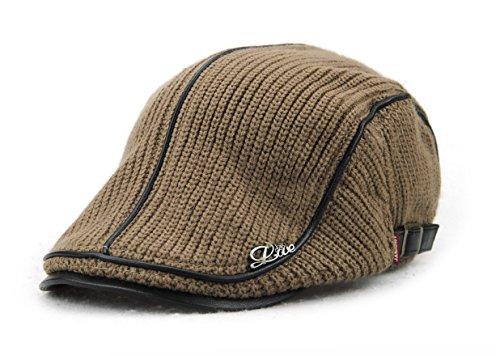 YCHY Men's Knitted Wool duckbill Hat Warm Newsboy Flat Scally Cap - Fit Merced Shape In