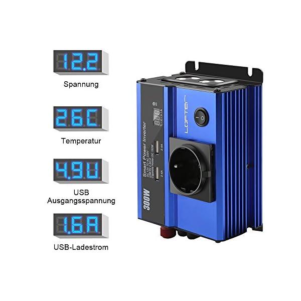 51kyXw5kt2L LOFTer 300W Auto Wechselrichter LED Anzeige KFZ Spannungswandler DC 12V auf AC 230V Power Inverter mit 2 USB Anschlüsse…