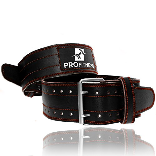 ProFitness Genuine Leather Workout Belt (4 Inches Wide) – Proper Weightlifting Form (Cotton Genuine Belt)