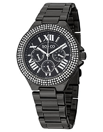 SO&CO New York Women's 5019.5 Madison Crystal-Accented Stainless Steel Watch with Link Bracelet ()