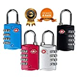 TSA Approved Luggage Locks 4 Digit Combination theft Protection on Our Durable Heavy Duty Travel Baggage Lock, Padlock and Suitcase Lock (Multi color 4 Pack) ¡­