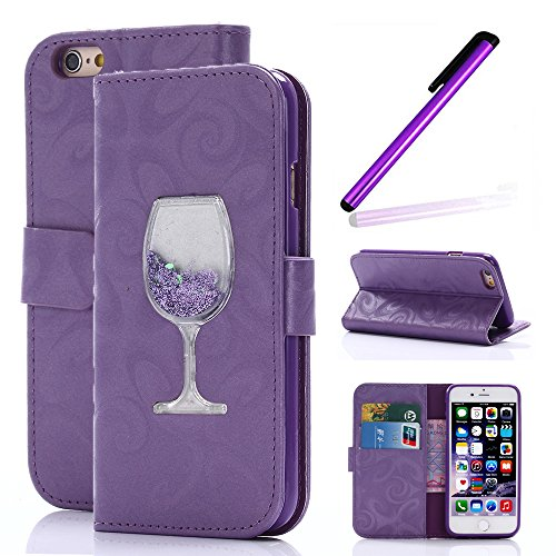 Magnetic Closure Wallet Case with Glitter Wine Glass for iPhone 6/6S Plus Purple