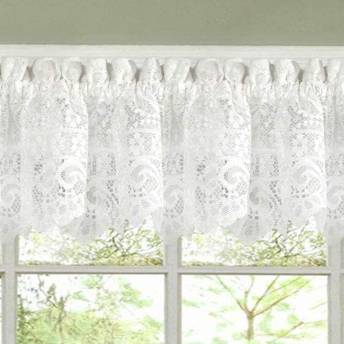 Abeautifulseller Hopewell Heavy White Lace Kitchen Curtain Choice of Tier Valance or Swag Valences