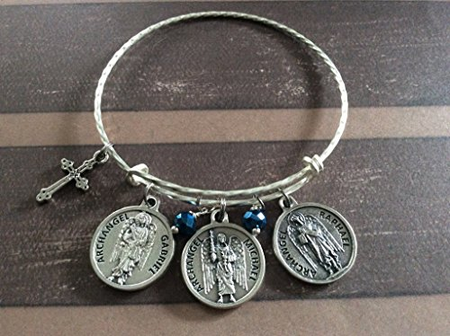 (Archangel Expandable Charm Bracelet Silver Bangle)