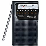 AM/FM Battery Operated Portable Pocket Radio - Best reception and Longest Lasting. AM FM Compact transistor Radios Player Operated by 2 AA Battery, Mono Headphone Socket, by Vondior (Black)