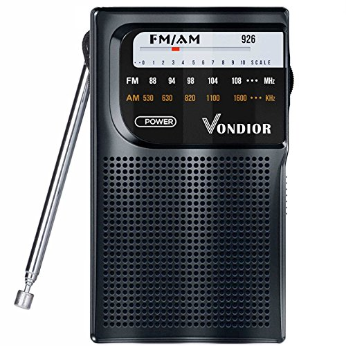 AM / FM Battery Operated Portable Pocket Radio - Best reception and Longest Lasting. AM FM Compact transistor Radios Player Operated by 2 AA Battery, Mono Headphone Socket, by Vondior (Black)
