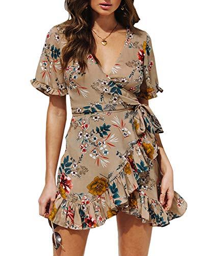 - Geckatte Womens Ruffle Dresses Summer Casual Short Sleeve Wrap Empire Waist Belts Mini Dress (Large, Y1-Khaki)