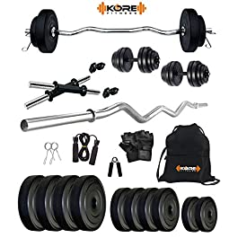 Kore PVC 16-30 Kg Home Gym Set with One 3 Ft Curl and One Pair Dumbbell Rods with Gym Accessories