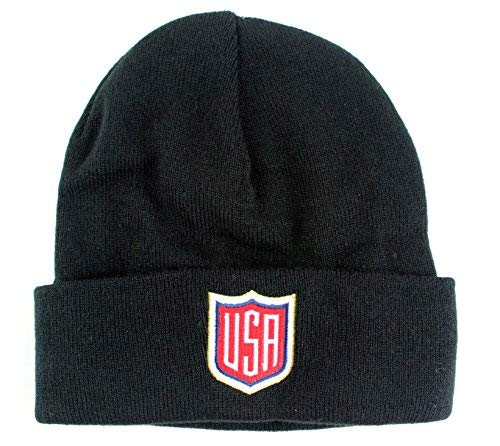(Mitchell & Ness World Cup Of Hockey Solid Knit Cuffed Hat (One Size, USA, Black))