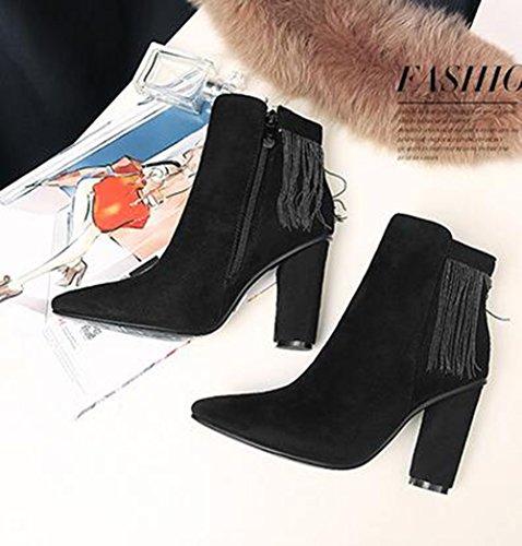 Suede borlas Faux gruesos tacones cremallera zapatos aisun botas medio negro del Elegun lado pYdOx0qwYS