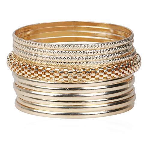 TQS Gold Bangle Bracelets Multilayer Charm Indian Bangles Jewelry Set for Women