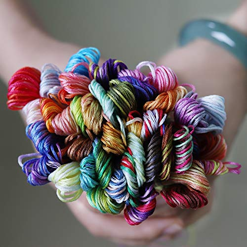 - Maslin 41 Variegated Colors Double Mercerized 100% Egyptian Cotton Embroidery Floss 8 Meters per Skein Variation Cross Stitch Thread