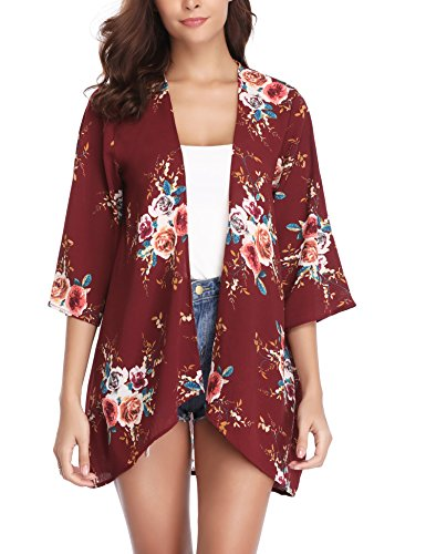 Abollria Women 3/4 Sleeve Floral Chiffon Casual Loose Kimono Cardigan Capes Wine Red