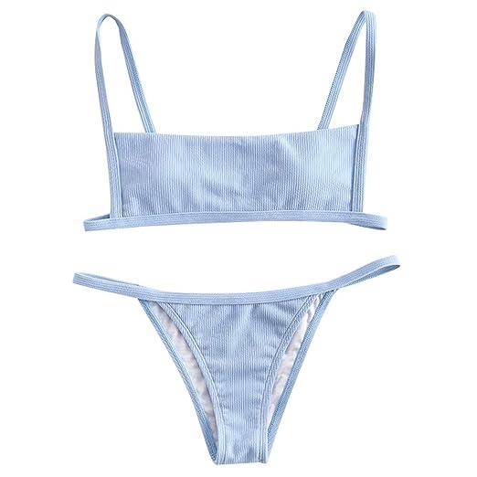 Zaful Women's Ribbed Square Neck Padded High Cut String Bikini Set Swimsuit by Dezzal