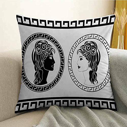FreeKite Toga Party Printed Custom Pillowcase Roman Aristocrat Woman Profiles Circular Classical Frames Hairstyle Beauty Decorative Sofa Hug Pillowcase W18 x L18 Inch Black White