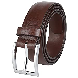 Savile Row Mens Classic Dress Belt 100% Leather 35 MM Brown Size 38