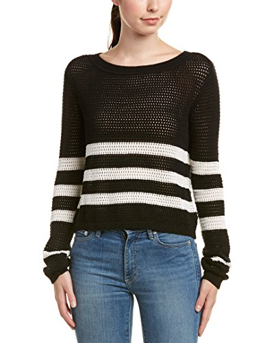 loway Striped Mesh Sweater, Black/Natural, Large (Silk Striped Sweater)