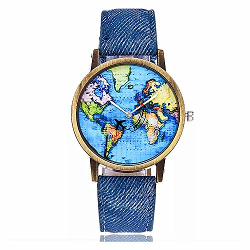 MINILUJIA Mother's Gift Airplane Moving Flying World Map Watch with Blue Jeans Color Watch Band (Denim Band Watch)