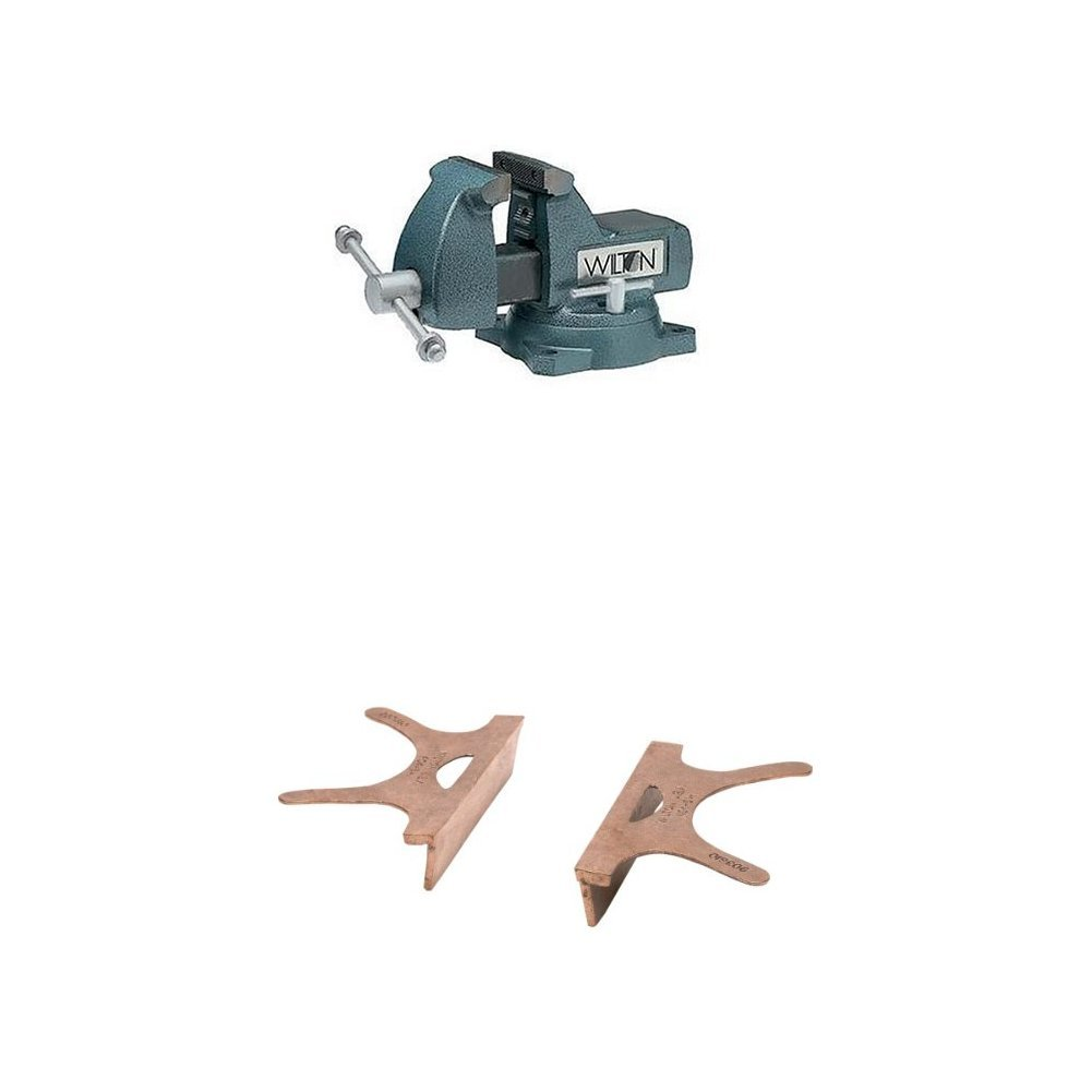 Wilton 21300 744 4-Inch Jaw Width by 4-1/2-Inch Opening Mechanics Vise with 404-4, Copper Jaw Caps, 4'' Jaw Width