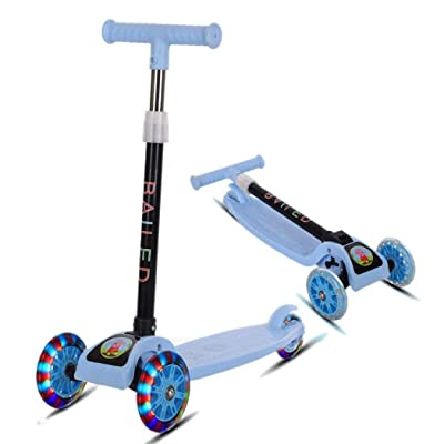 hiriyt Durable Portable Folding with Flash Light Sliding Children Scooter Kick Scooters: Toys & Games