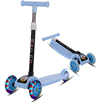 Kaimu Kick Scooter for Kids 3 Wheel Scooter for Toddlers Girls & Boys, 4 Adjustable Height, Lean to Steer with PU LED Light Up Wheels for Children from 3 to 14 Years Old