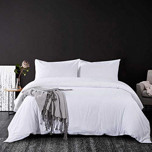 Tanzy White Queen Duvet Cover Set,Solid 90 x 90 Soft Plush Lightweight Microfiber Bed Quilt Comforter Covers with Zip Closure - Cool/Modern Hotel 3 Piece (2 Pillowcase, 1 Cover) for Girls/Men/Women (Set All Comforter Queen White)