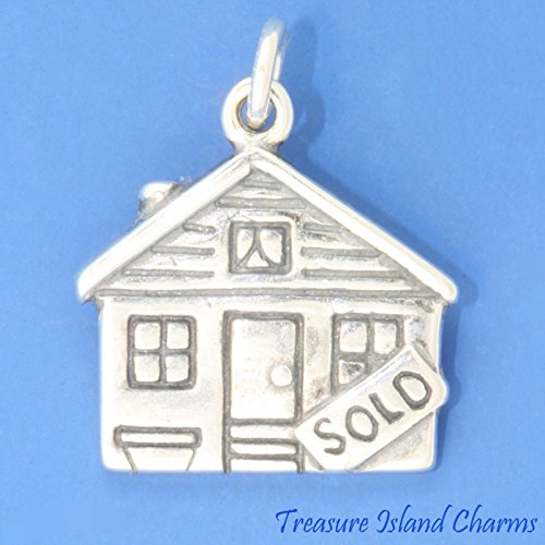 House for Sale Realtor Sold Sign .925 Sterling Silver Charm Pendant New Ideal Gifts, Pendant, Charms, DIY Crafting, Gift Set from Heart by Wholesale Charms (House Sterling Silver Charm)
