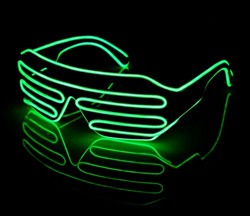 LED Light Up Glasses Sound Activated Shutter EL Wire Neon Glasse Green with Controller for Halloween Bar Glowing Party Mask Decor B014G