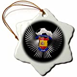 3dRose orn_159477_1 Spain Soccer Ball with Crest Team Football Spanish Snowflake Ornament, Porcelain, 3-Inch