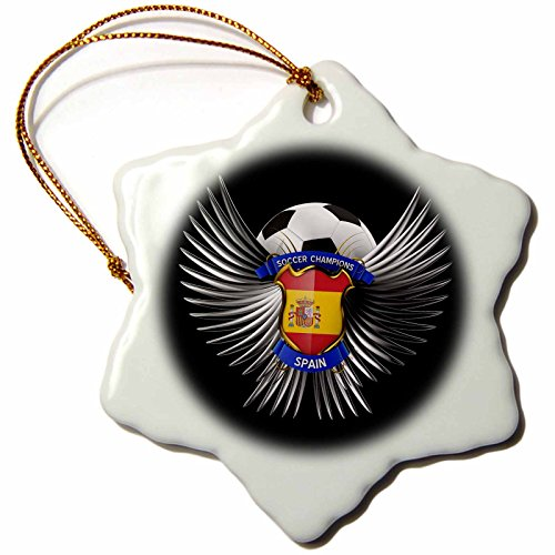 3dRose orn_159477_1 Spain Soccer Ball with Crest Team Football Spanish Snowflake Ornament, Porcelain, 3-Inch by 3dRose