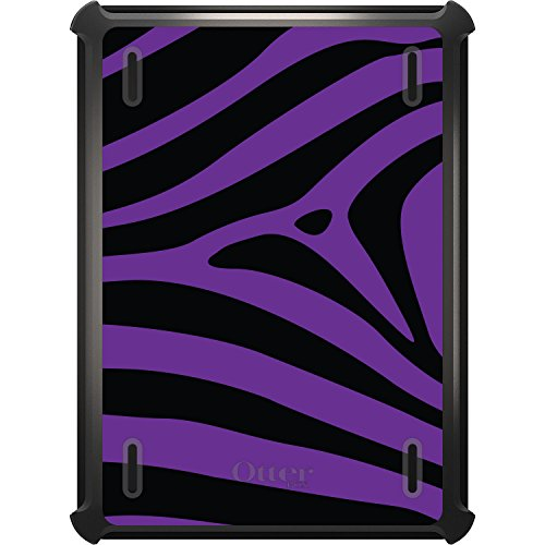 DistinctInk Case Compatible with iPad 2017 (5th / 6th Gen) - Custom Black OtterBox Defender with Stand, Screen Protector - Black Purple Zebra Skin Stripes