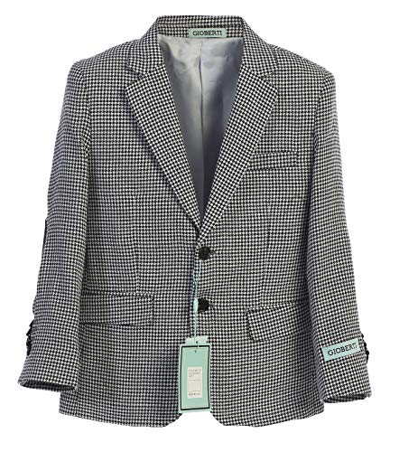 Gioberti Boy's Lightweight Spring Houndstooth Jacket, Black, Size 4T