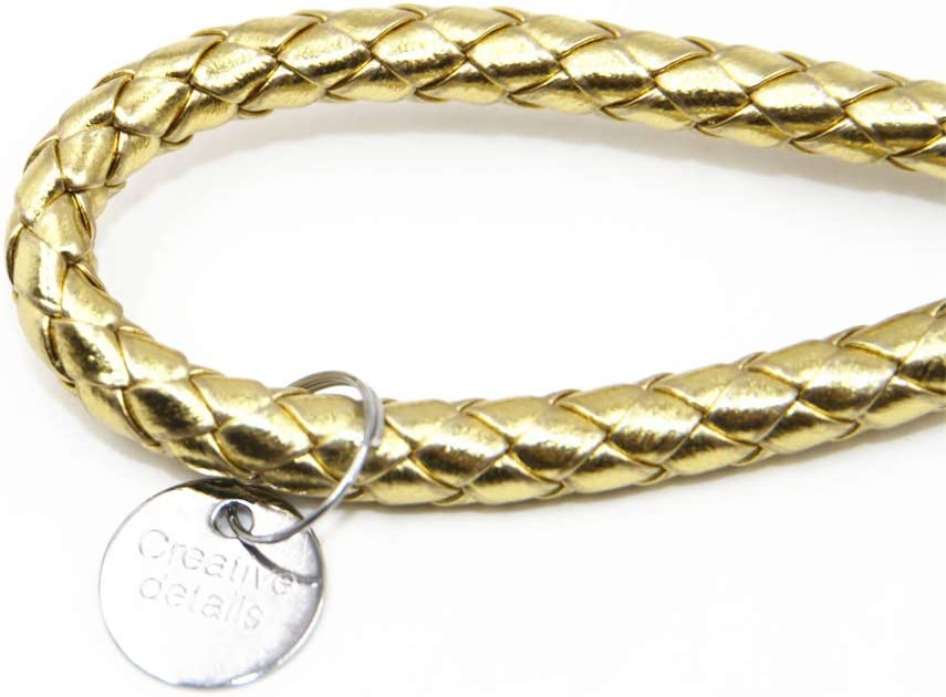 NSLUMO Braided PU Leather Strap Key Ring Gold Yellow Woven Lanyard Leather Keychain Weave Rope Key Chain Fashion Creative Gift for Porsche Mercedes Benz BMW Car Key Chain