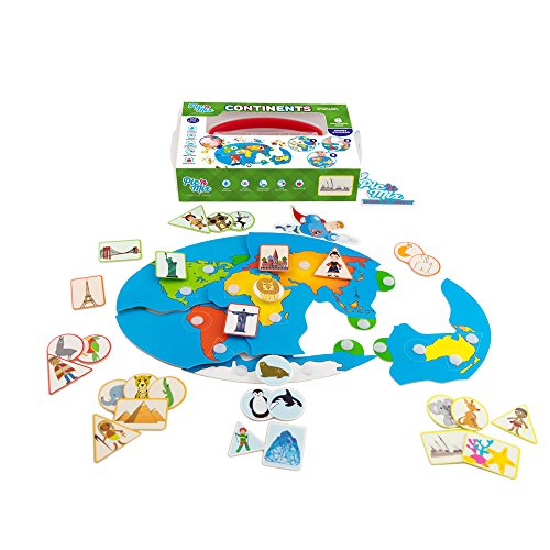 Kids Map Continents - Picnmix Continents World Map Sticker Puzzle Educational and Learning Toys and Games for 4 year olds to 7 year olds
