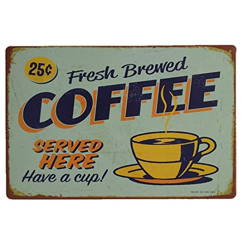 Fresh Brewed Cafe Coffee Vintage Metal Tin Sign Retro Decor For Bar Wall Pub Home Decor Tin Sign Posters 12 x 8 Inch -