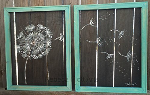 Dandelion, set of 2, recycled, up-cycled, window screen, screen art, handmade, hand painted, unique, gift ideas by RebecaFlottArts