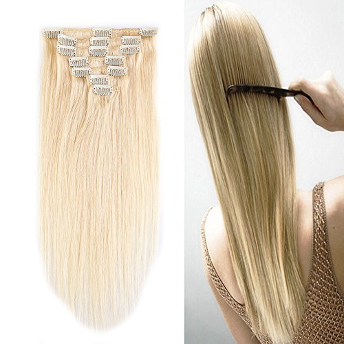 """Price comparison product image 100% Remy Human Hair Clip in Extensions Grade AAAAA Natural Hair Full Head 7pcs 16clips Standard Weft Long Silky Straight for Women Fashion and Beauty (15"""" /15 inch 65g,#613 Bleach Blonde)"""