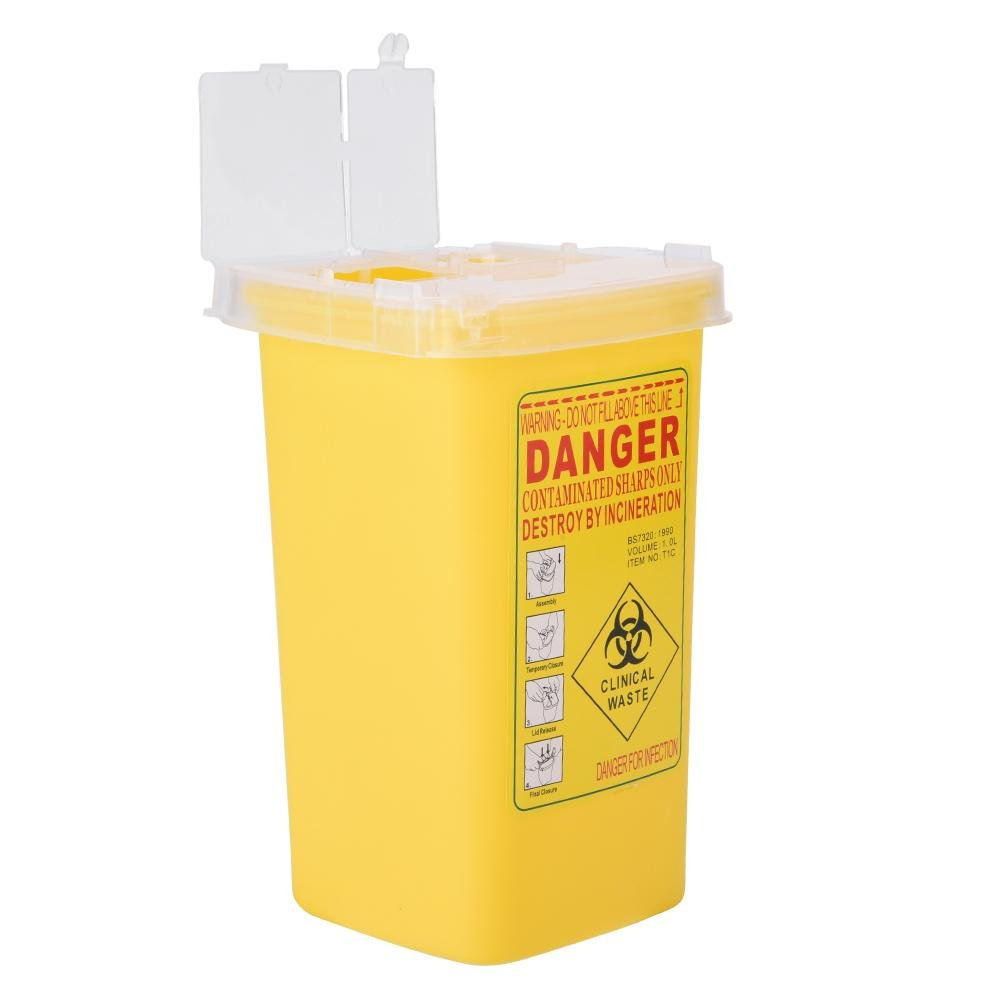 Container Tattoo Kunststoff Kan/ülenabwurfbox Biohazard Entsorgung 1L-Gr/ö/ße Box