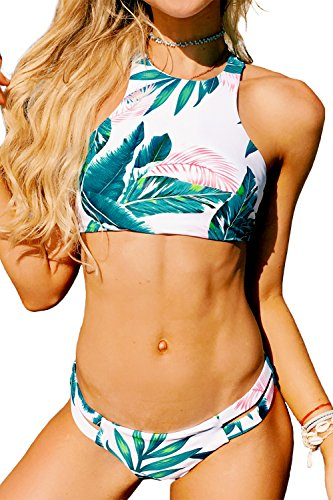 - Seaselfie Women's Tropical Forests Pattern High Neck Push Up Tankini Bikini Set, M Green