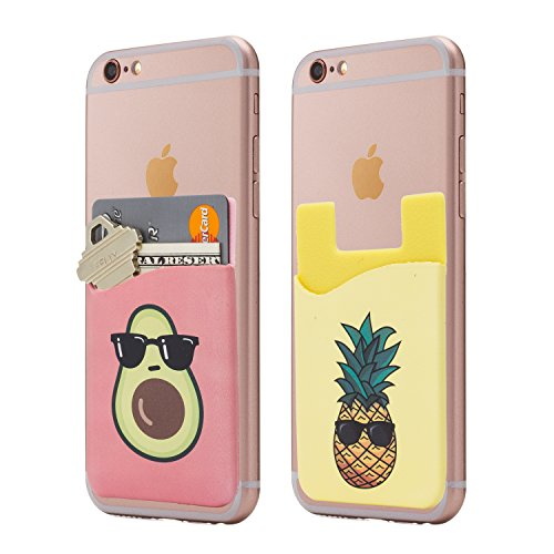 (Two) Avocado and Pineapple Cell Phone Stick on Wallet Card Holder Phone Pocket for iPhone, Android and All Smartphones.