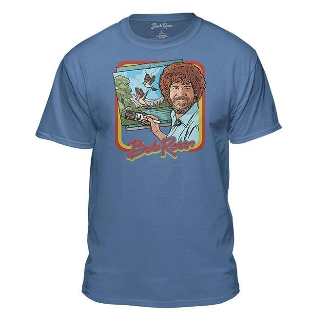 d088b9a4 Bob Ross Retro Painting Tshirt - 100% Authentic - Graphic T-Shirt for Men