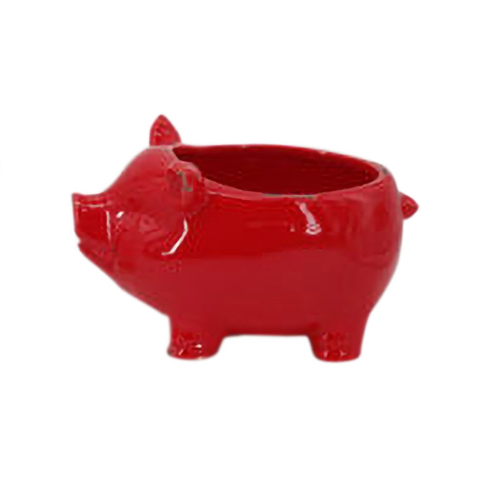 Glossy Red Farmyard Animal Porky Pig 8 x 8 Ceramic Serving Bowl