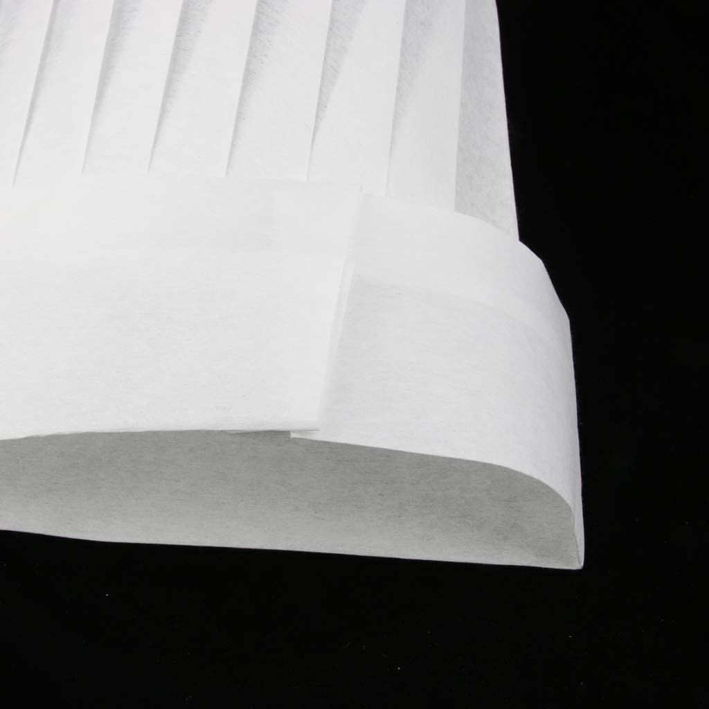 Sharplace 20x Toque de chef Chapeau Cuisinier Jetable Bouchon Boulanger Alimentaire Blanc