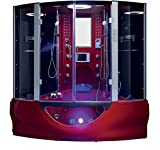 2020 Valencia Computerized Steam Shower Sauna with Jetted jacuzzi Whirlpool Massage Bathtub Spa with Telephone & TV (Red)