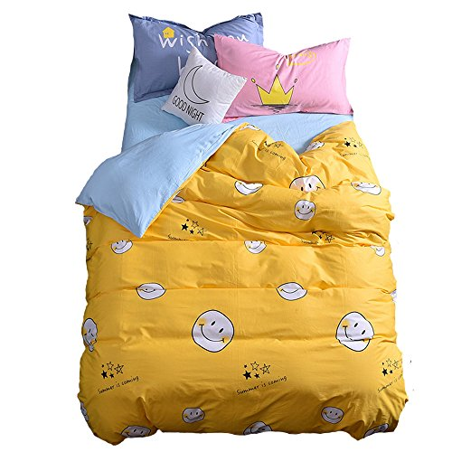 Mumgo Home Textile Bedding Sets for Adult Kids Keeping Smile Pattern Duvet Cover Set Yellow 100% Cotton 500 Thread Count,Twin Full/Queen King Set (Full/Queen Size(4 Piece), Fitted Sheet) by Mumgo