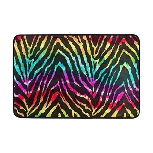 Acove Wild Zebra Entrance Doormat Rainbow Watercolor Indoor/Outdoor Decor Rug Doormat 24x16 Inch Non-Slip Home (Touch Rainbow Zebra)