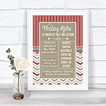 Amazon Com Red Grey Winter Wedding Rules Personalized Wedding