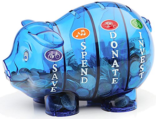Money Savvy Pig - Blue (Educational Piggy Bank)