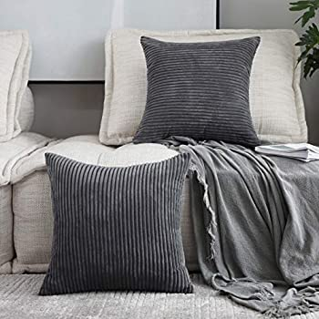Home Brilliant Decor Pillow Covers Soft Decorative Striped Corduroy Velvet Square Throw Pillow Sofa Cushion Covers Set Couch, 2 Pack, 18x18 inch (45cm), Dark Grey