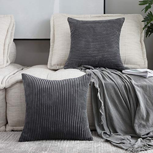 HOME BRILLIANT Decor Pillow Covers Soft Decorative Striped Corduroy Velvet Square Throw Pillow Sofa Cushion Covers Set Couch, 2 Pack, 18x18 inch (45cm), Dark -